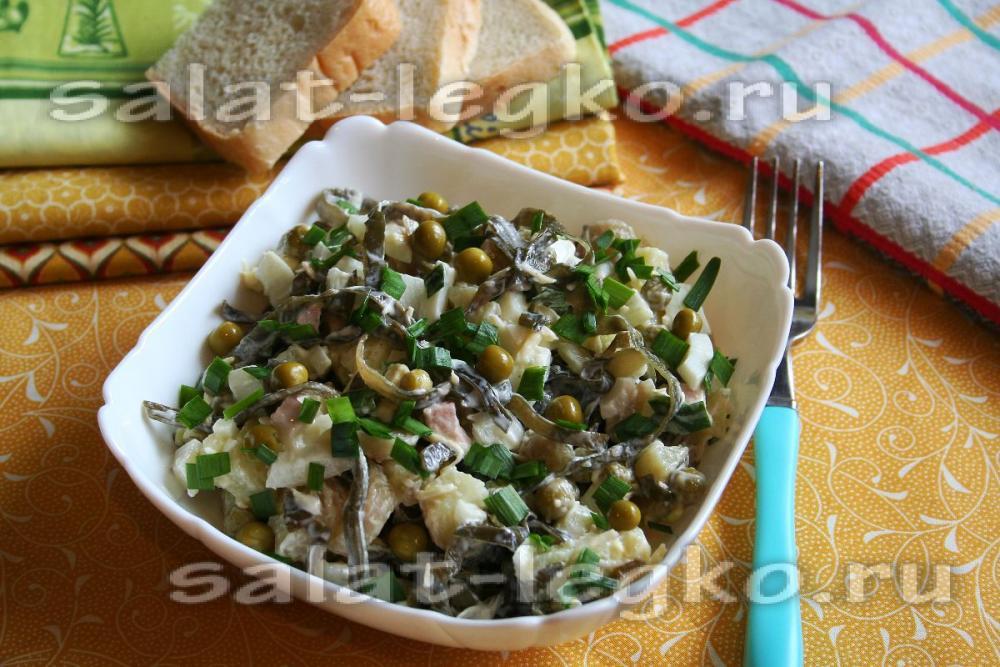 Рецепт салата с морской капустой и горошком