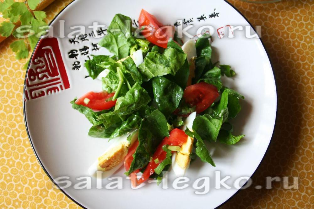 Простые салаты со шпинатом рецепты простые
