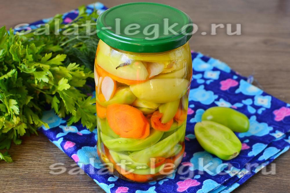 рецепт салата из зеленых помидор с луком