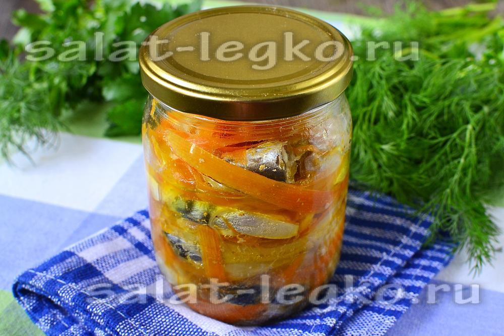 салат на зиму с скумбрией и овощами рецепт с фото
