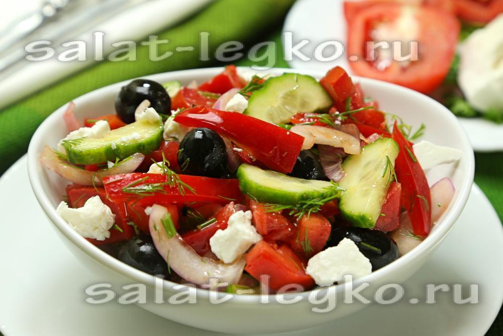 Болгарский салат с помидорами и брынзой
