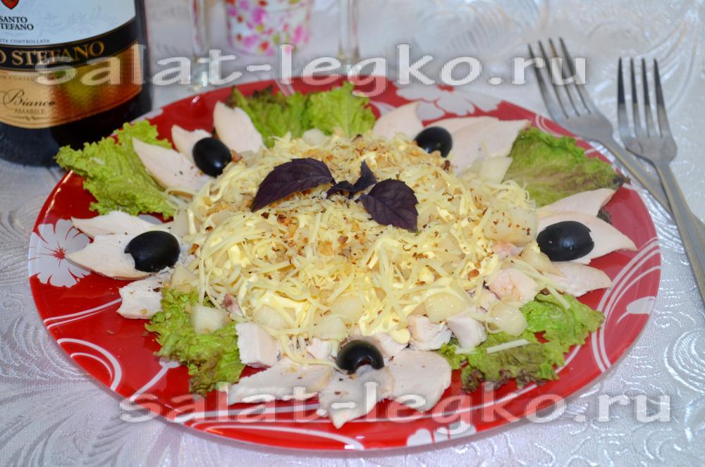 Салат с вяленой куриной грудкой рецепт