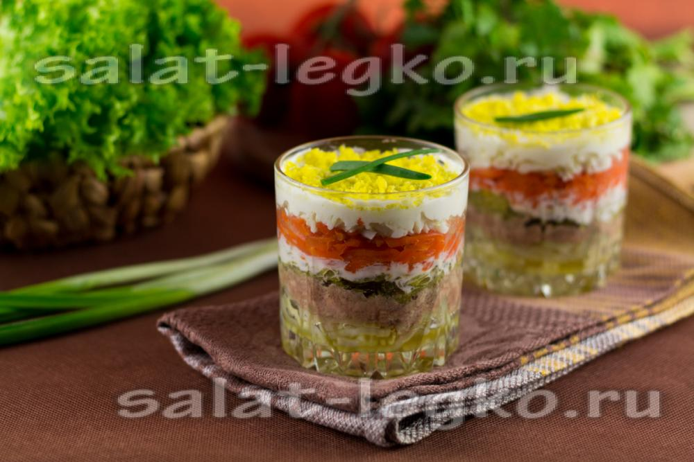Салат с печенью трески рецепт классический