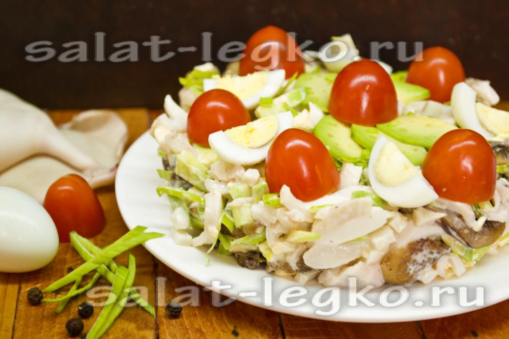 Салат из авокадо и кальмаров рецепт с