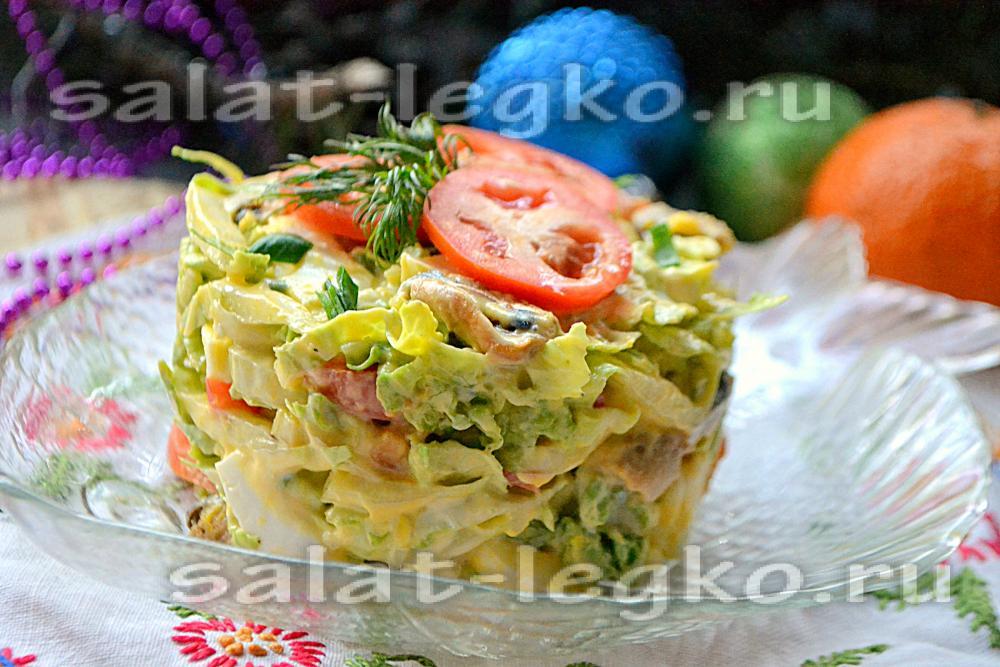 Салат из морепродуктов с пекинской капустой рецепты