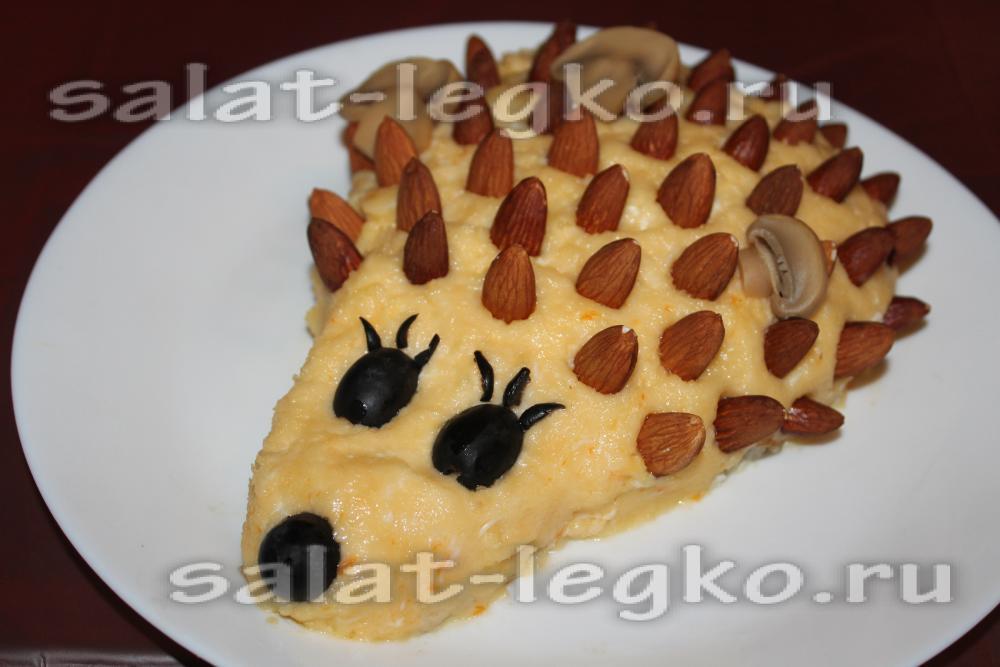 салат дубок рецепт с курицей и грибами слоями