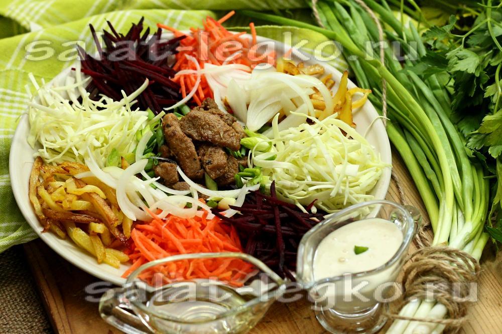 корейский/салат с помидором огурцом и мясом