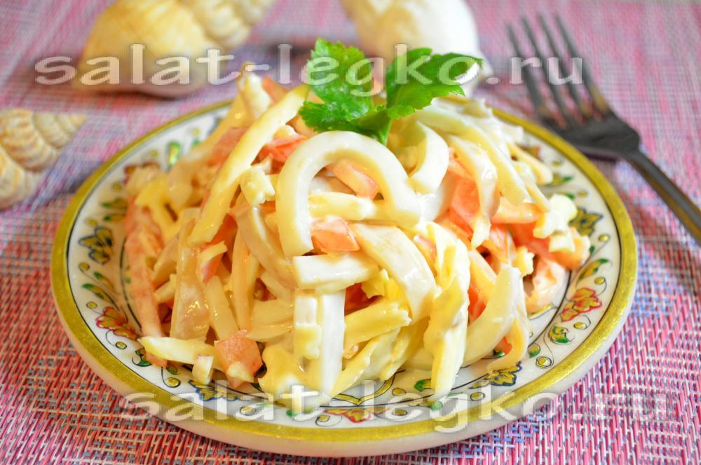 Салат с кальмарами в пост рецепты