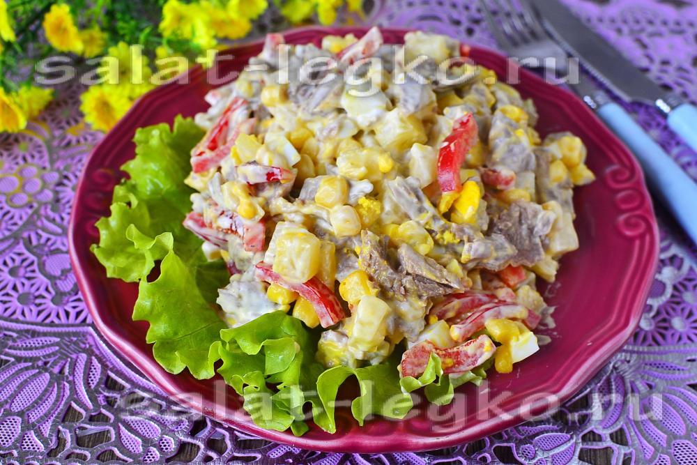 Салат с индейкой и кукурузой рецепт
