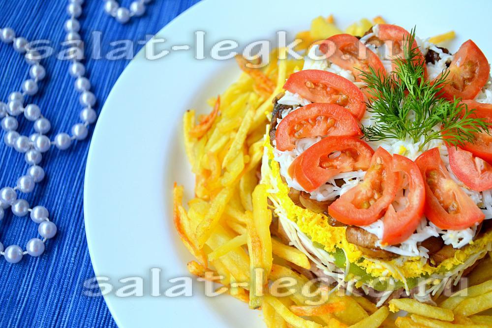 Рецепт слоеного салата с языком