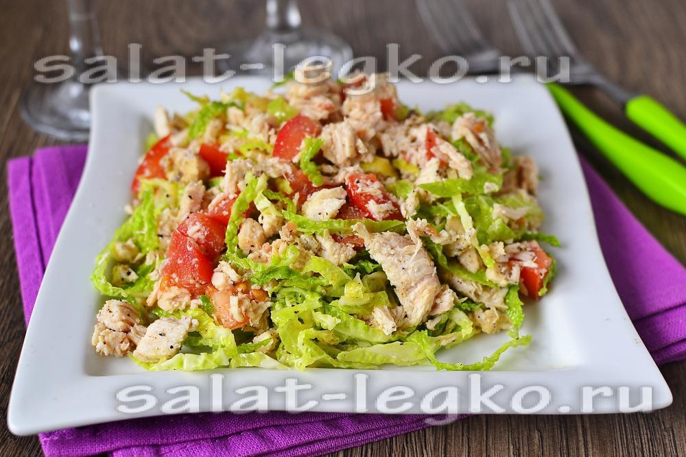 салат с пекинской капустой болгарским перцем и курицей
