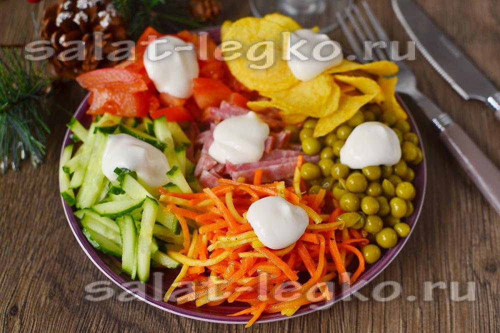 Салат ералаш с курицей рецепт с пошагово