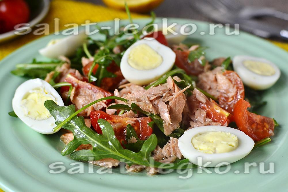 Make specific рукколой Салат консервированным с тунцом и Its premiere will