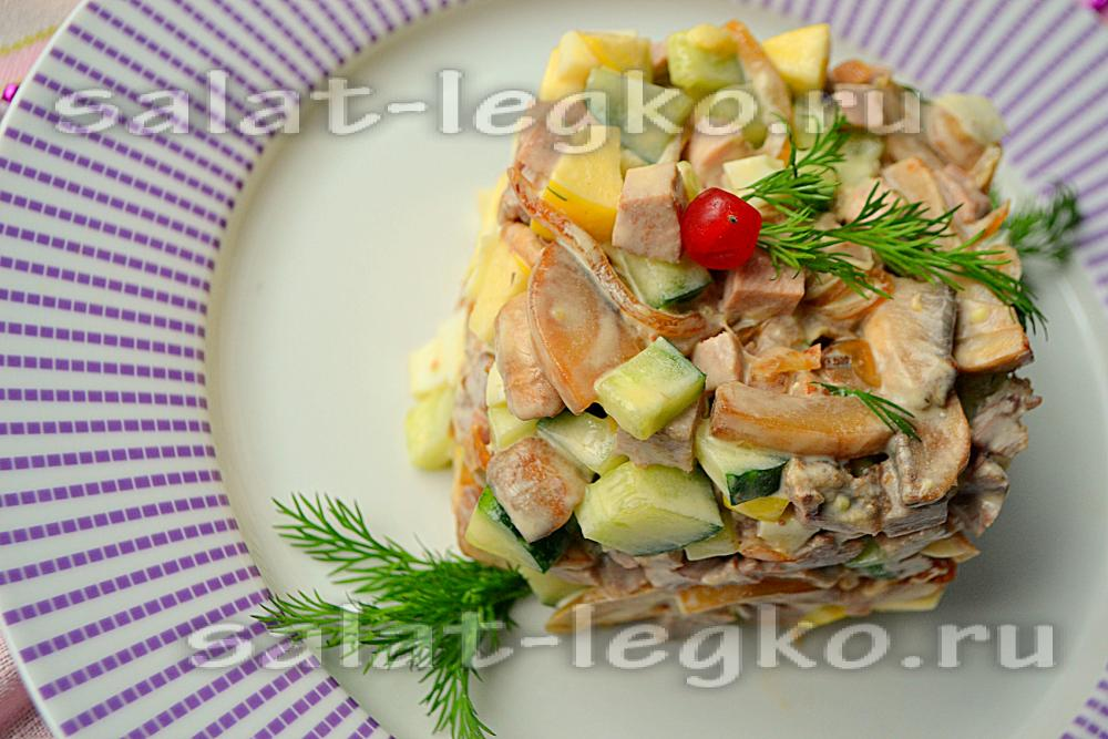 рецепты салатов из говяжьего языка с фото