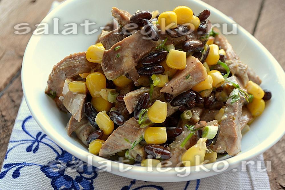 рецепты салатов с языком говяжьим и сухариками