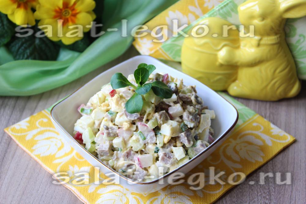 Салат с языком и свежими огурцами рецепты простые и вкусные