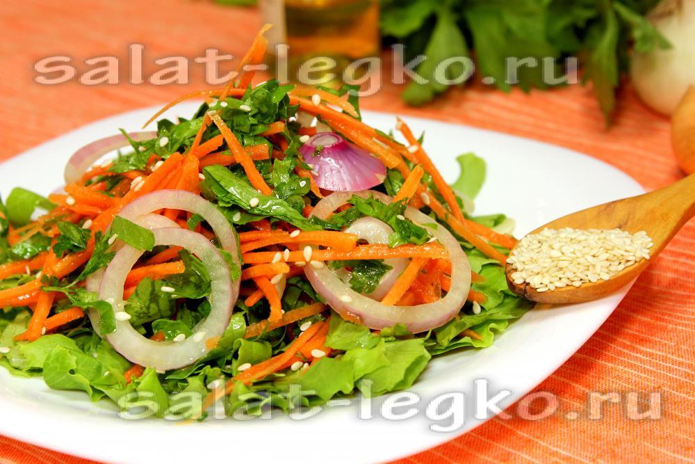 Салат морковь. мясо сырое