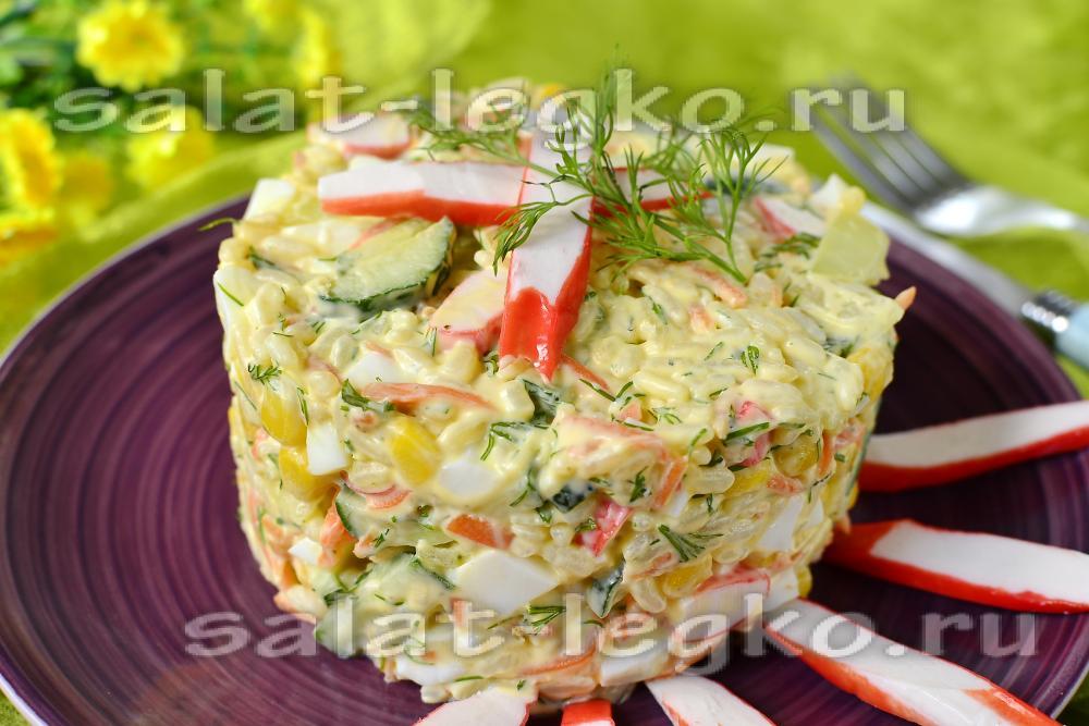 Турецкий салат из крабовых палочек с