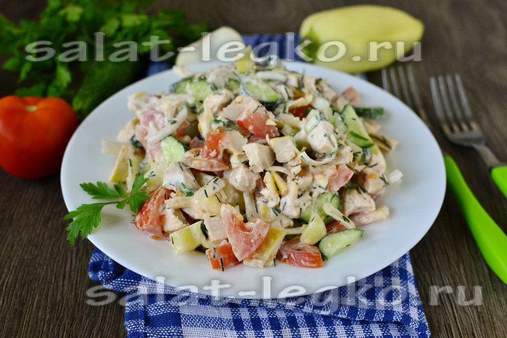 Салат из курицы с помидорами и огурцами рецепт