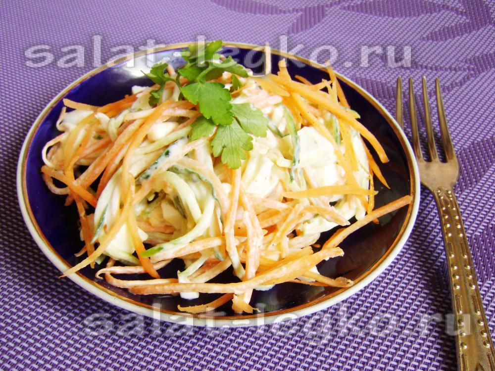 Салат корейская морковь с курицей соленым огурцом