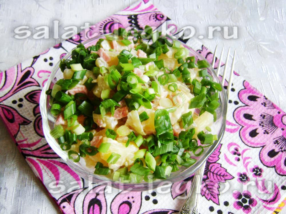 Рецепты салатов из колбасы и огурцов