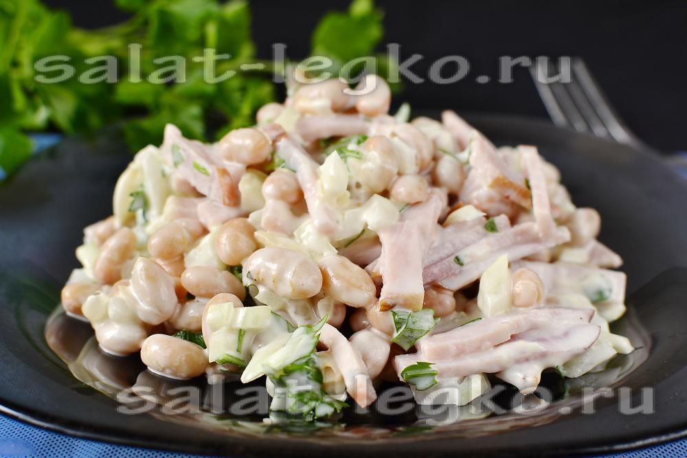 Недорогие салаты с ветчиной рецепты с
