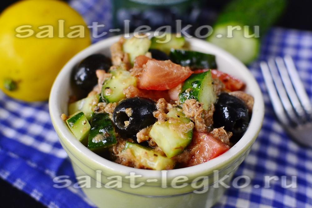 Постный салат с тунцом консервированным рецепт с пошаговым