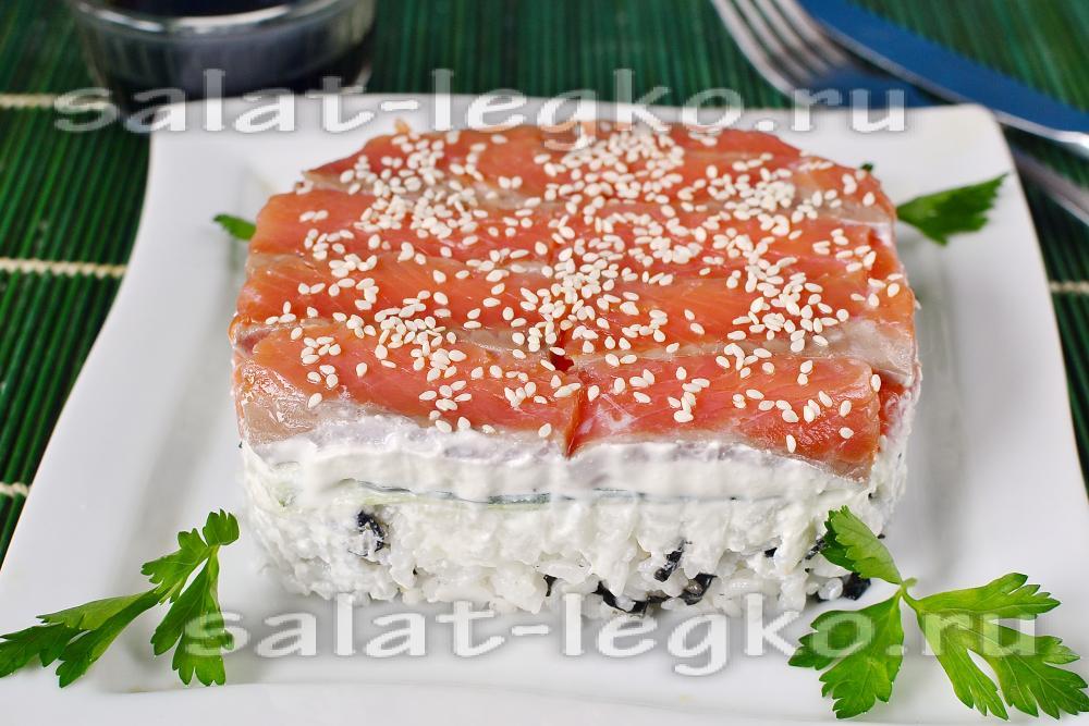Рецепт салата с красной рыбой пошагово