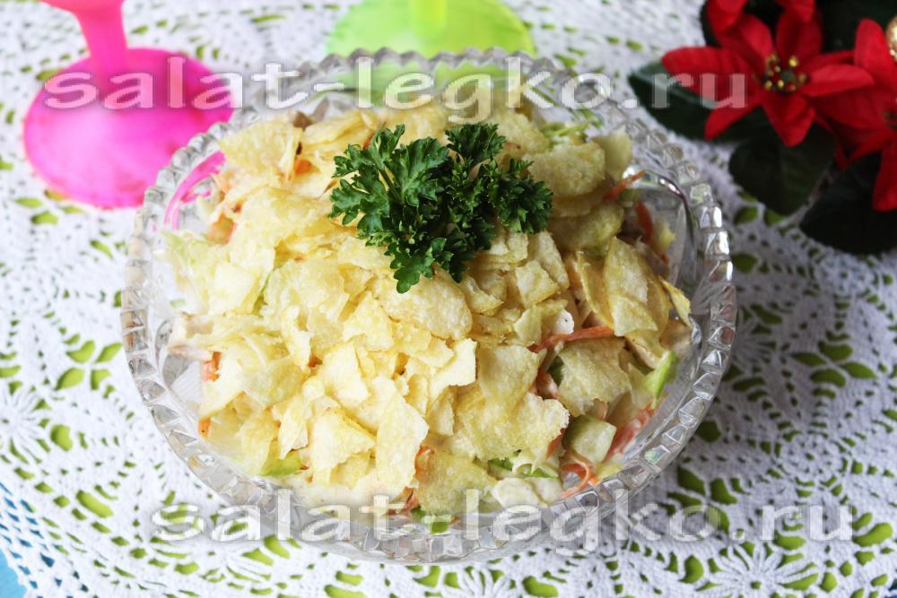 Вкусный салат с чипсами рецепты с простые и вкусные