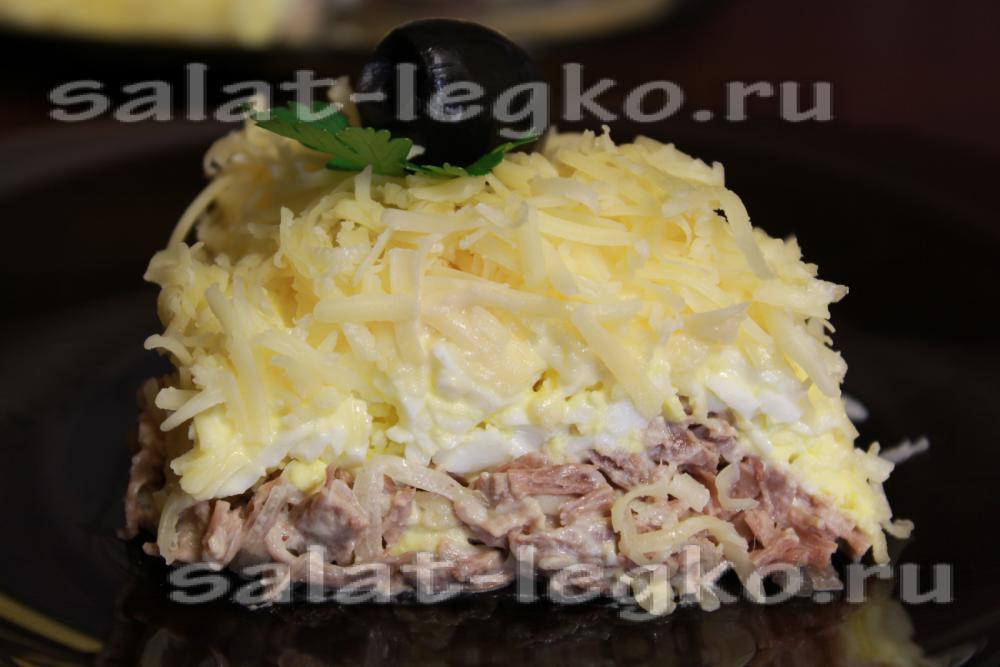 Рецепты салатов мясных с сыром с