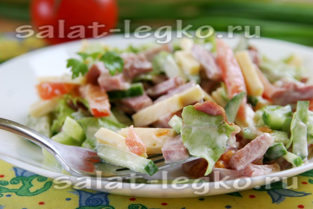 Салат с шейкой свиной