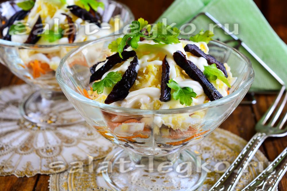 салат с черносливом ,курицей,яблоками,помидорами рецепт