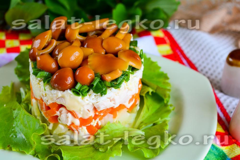 Рецепт салата грибная поляна с опятами с