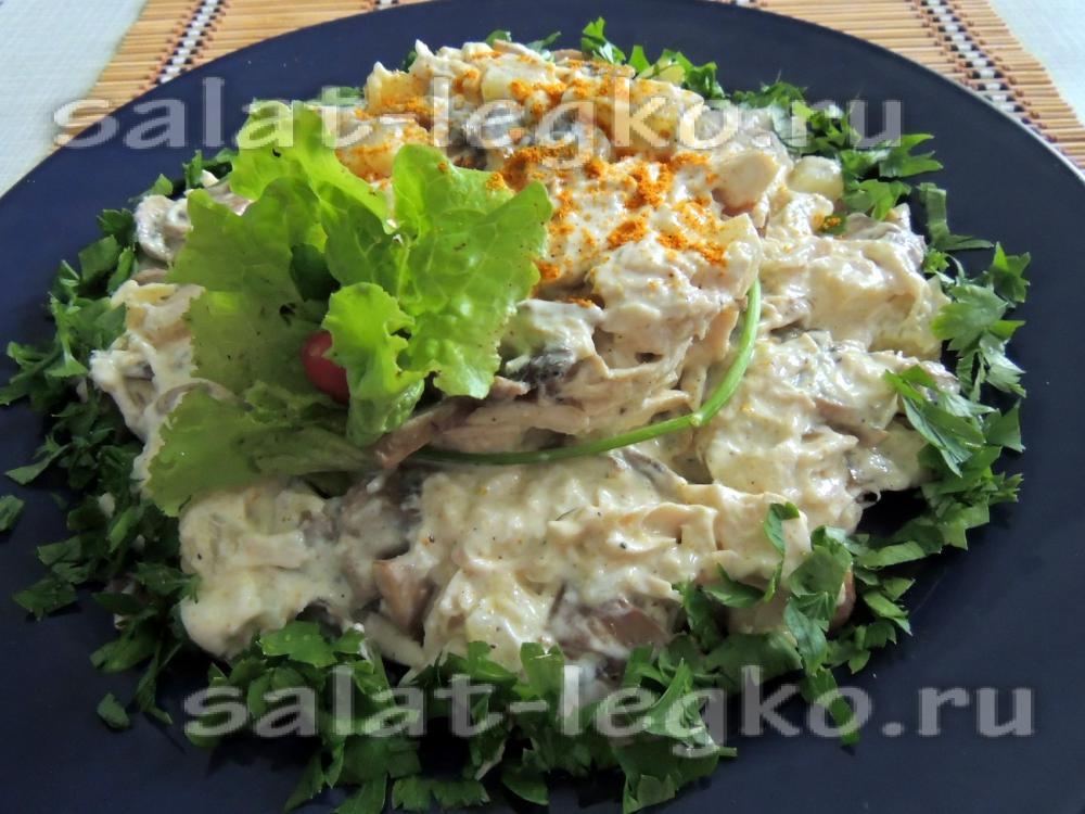 салат курица с ананасами и грибами рецепт с фото