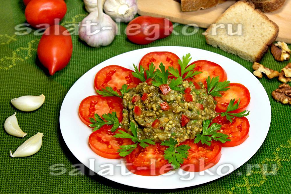 Салат баклажаны грецкий орех