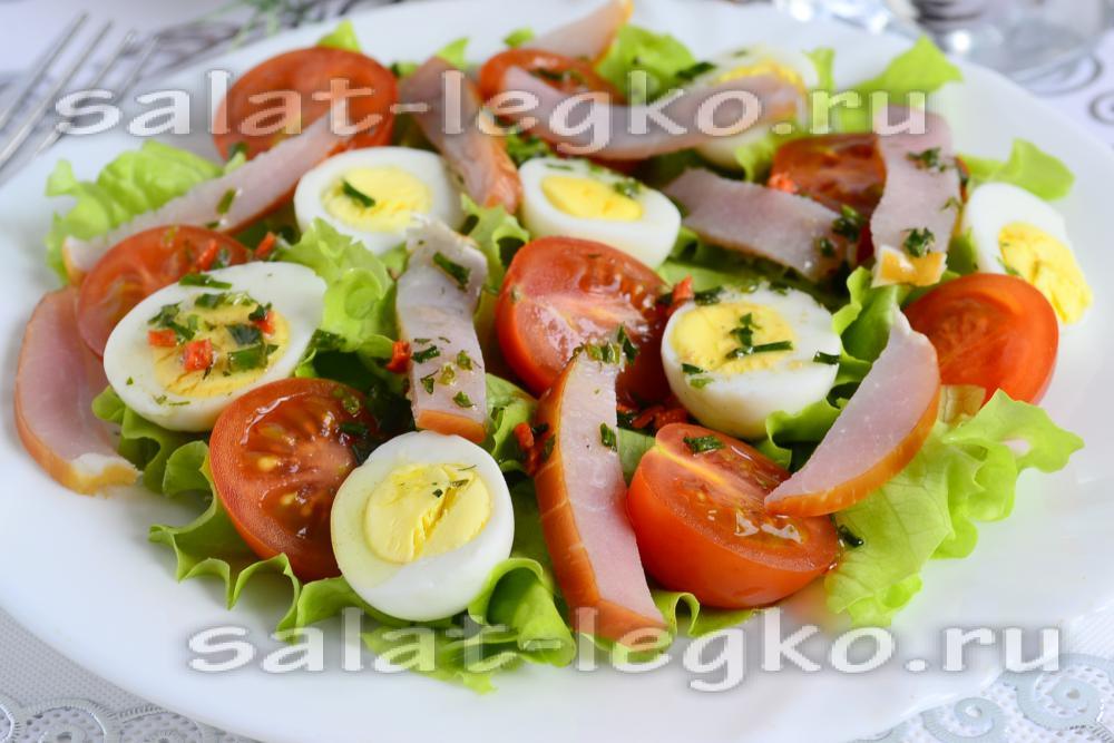 Салат из помидоров с перепелиными яйцами