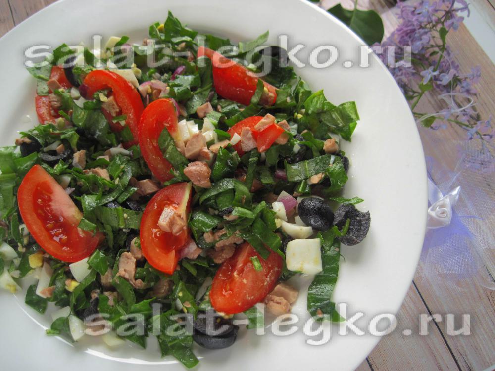 Салат с печенью трески с зеленью