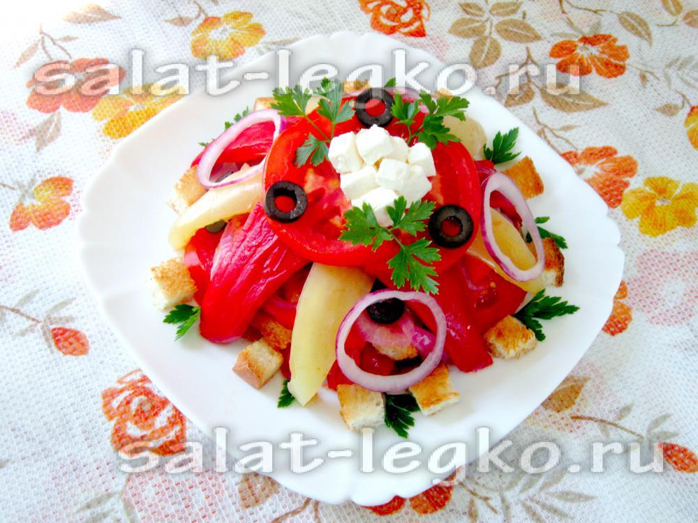 Салаты с сыром фета и болгарским перцем