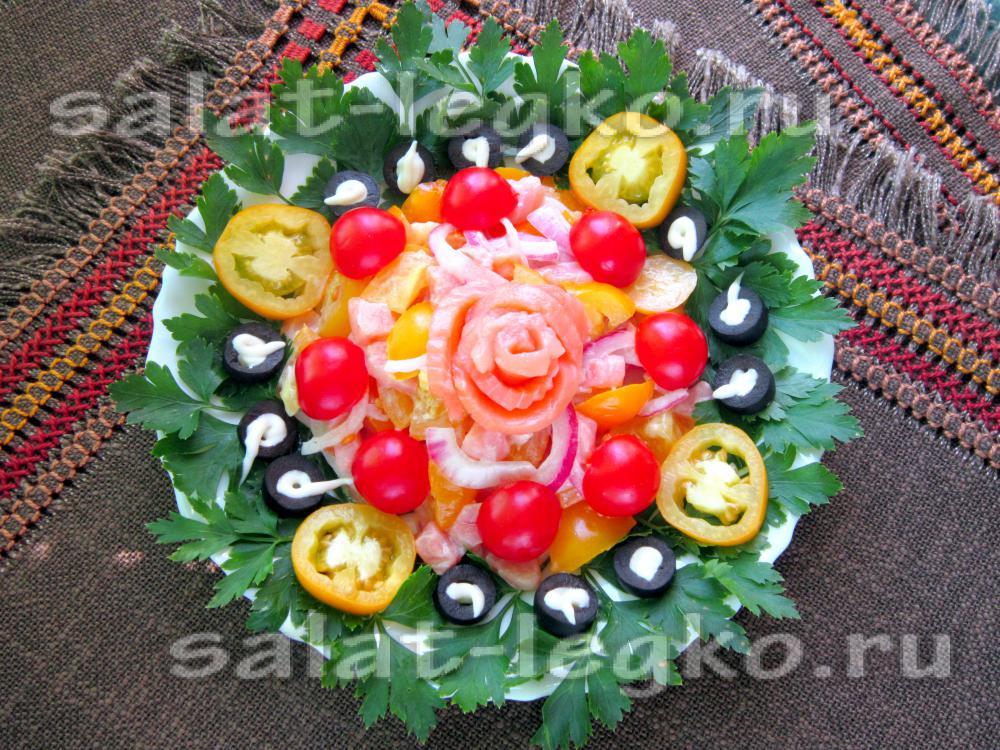 вкусный салат с горбушей соленой рецепт с фото