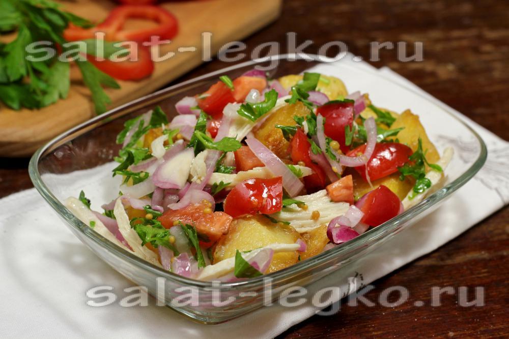 Салат с курицей и грибами маринованным луком и