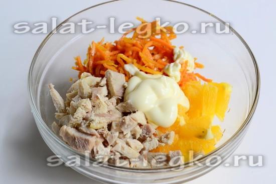Салат с морковкой по корейский и апельсином