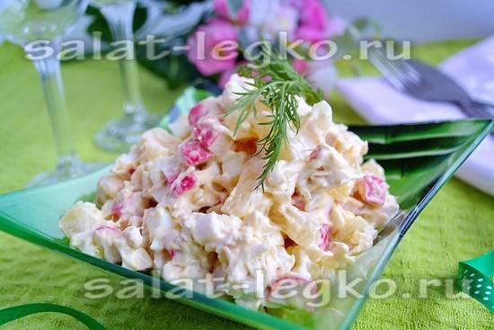 Салат из курицы с ананасами и крабовыми палочками рецепт с