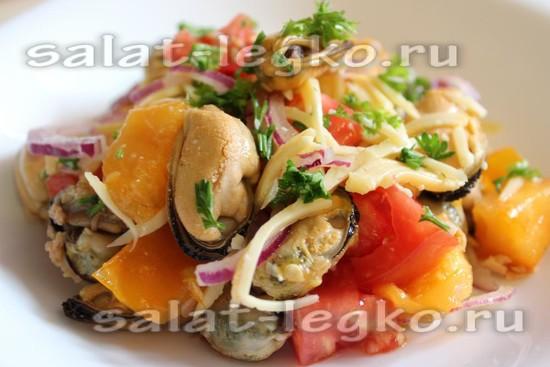 рецепт салата с мидиями и сыром