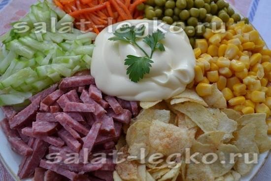 Салат с копченой курицей и чипсами рецепт с пошагово