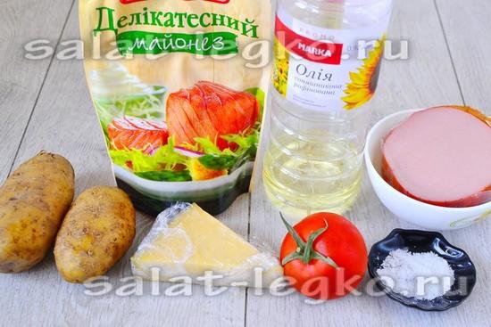 Ингредиенты для приготовления салата из картофеля и колбасы