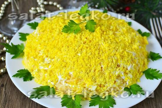 75Салат мимоза с сыром и консервой рецепт