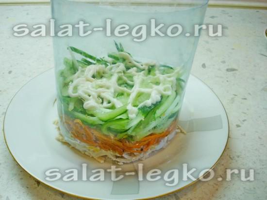 Выкладывать салат слоями