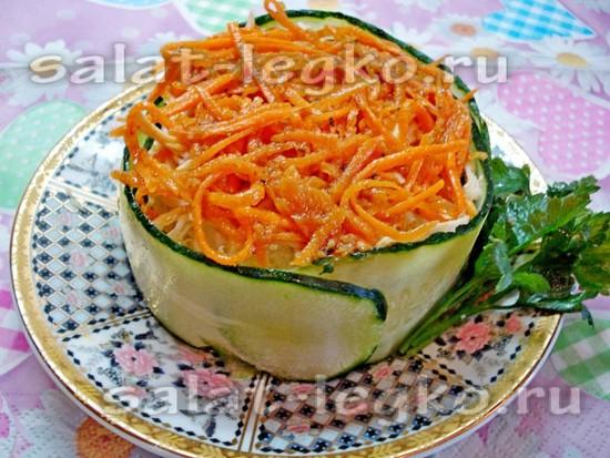 Слоеный салат с корейской морковью - рецепт с фото