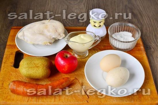 Ингредиенты для приготовления салата из курицы и киви