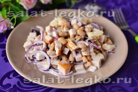 рецепт салатс с курицей, ананасом, фасолью